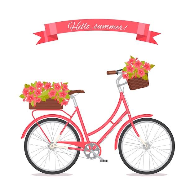 Różowy retro bicykl z bukietem w kwiecistym koszu i pudełku na bagażniku. Premium Wektorów