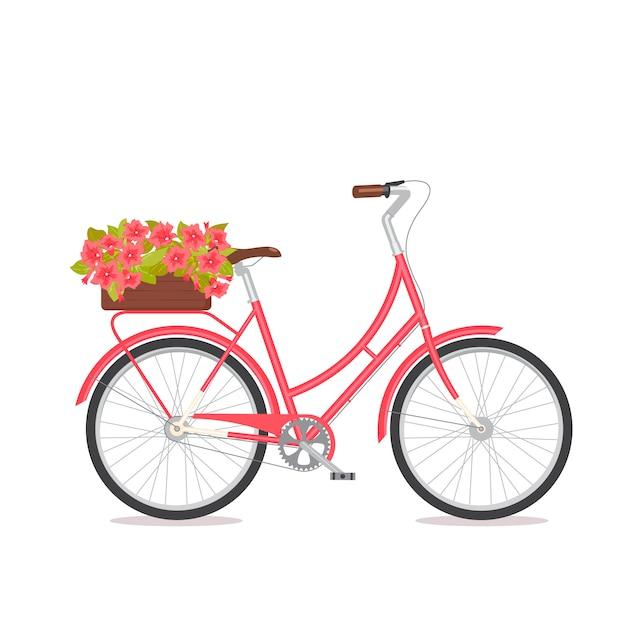 Różowy retro bicykl z bukietem w kwiecistym pudełku na bagażniku. Premium Wektorów
