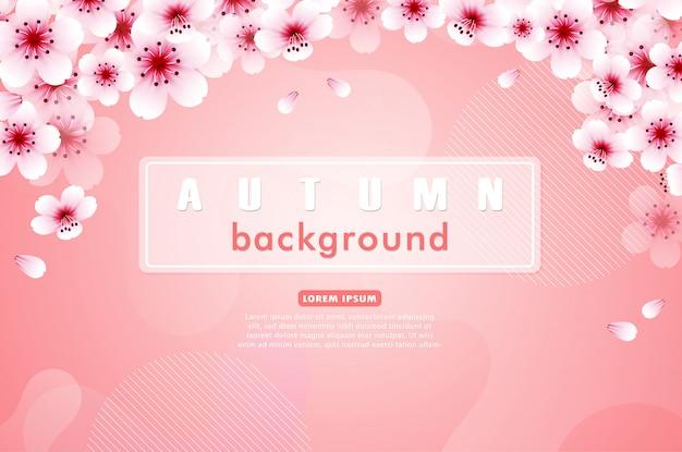 Różowy Sakura Kwitnie Jesieni Tło Premium Wektorów