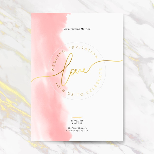 Różowy ślub Zaproszenia Karty Wektor Darmowych Wektorów