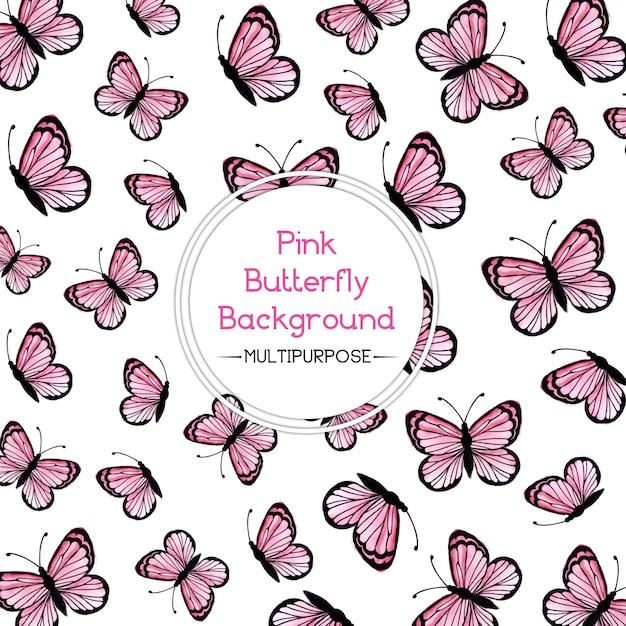 Różowy Tła Akwarela Butterfly Premium Wektorów