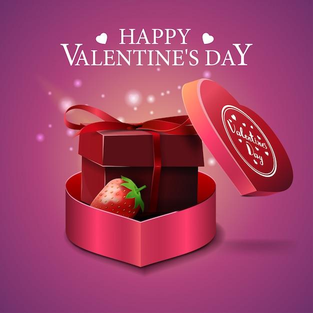 Różowy walentynki kartkę z życzeniami z pamiątkami i truskawki Premium Wektorów