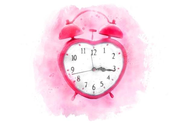 Różowy Zegar W Kształcie Serca. Akwarela, Na Białym Tle Na Białym Tle. Premium Wektorów