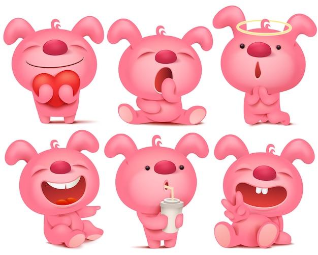 Różowy zestaw znaków emoji króliczek z różnymi emocjami i sytuacjami. Premium Wektorów