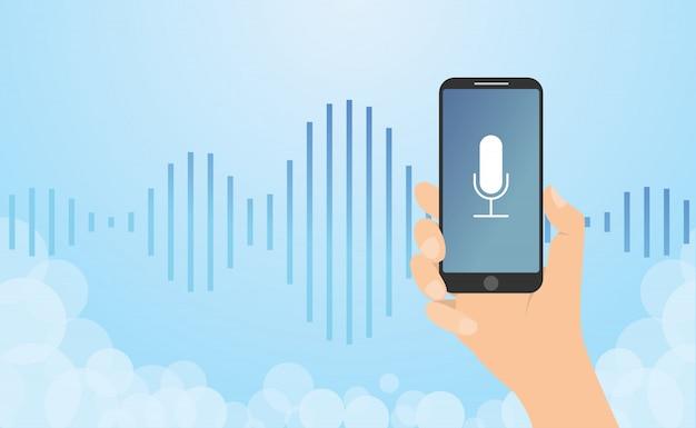 Rozpoznawanie Głosu Technologia Z Ręka Chwyta Smartphone I Fala Hałasu Z Nowożytnym Mieszkaniem Projektujemy - Wektor Premium Wektorów