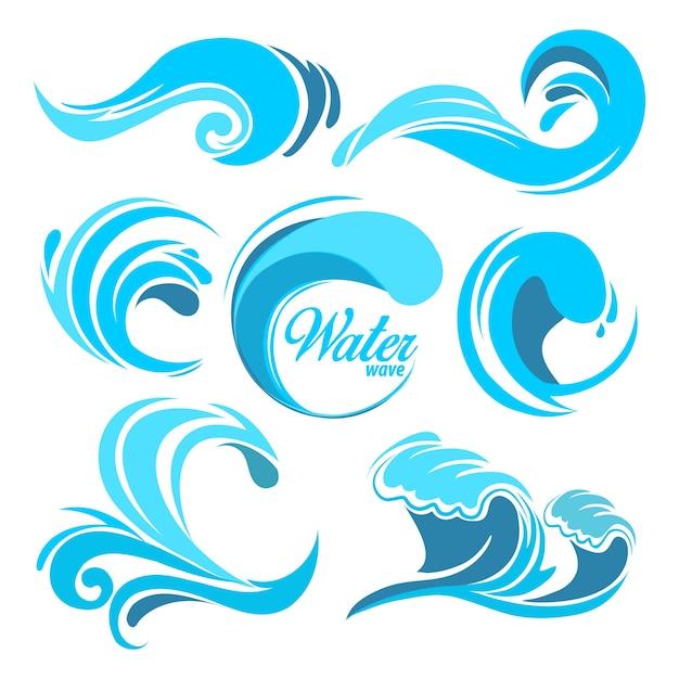 Rozpryski Wody I Fale Oceanu. Symbole Graficzne Logo. Fala, Woda, Morze, Wir, Zbiór Przyrody, Ilustracja, Fala, Woda Premium Wektorów