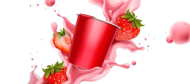Rozpryskiwania Jogurtu Truskawkowego Ze świeżymi Owocami I Pojemnikiem Na Kubek Premium Wektorów