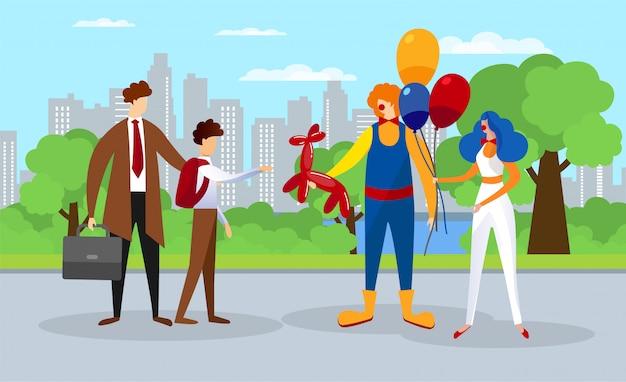 Rozrywka Letnich Dzieci W Parku Miejskim. Clown Show Premium Wektorów