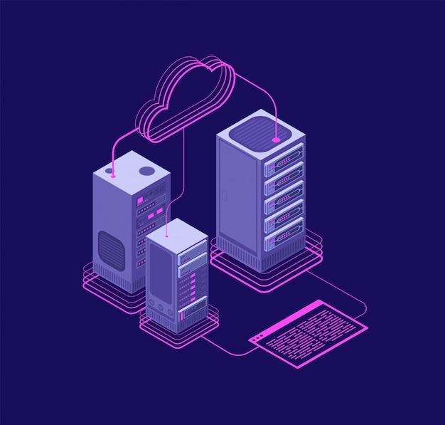 Rozwiązania Hostingowe, Centrum Danych Z Usługami, Wsparcie Administracyjne Strony Internetowej Wektor Izometryczny Koncepcja Premium Wektorów