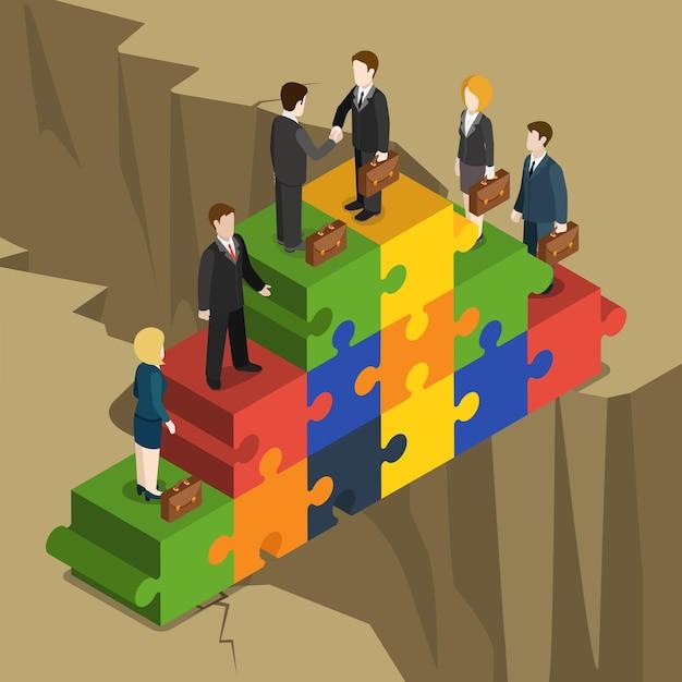 Rozwiązanie Partnerstwa Biznesowego Płaska Koncepcja Izometryczna Biznesmeni Uścisk Dłoni Na Piramidzie Kawałek Układanki Budować Nad Przepaścią. Darmowych Wektorów