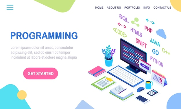 Rozwój Oprogramowania, Język Programowania, Kodowanie. Izometryczny Laptop, Komputer Z Aplikacją Cyfrową Na Białym Tle. Premium Wektorów
