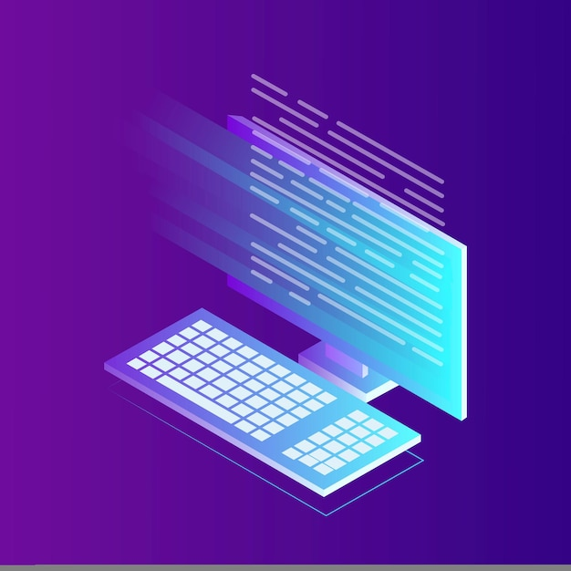 Rozwój Oprogramowania, Język Programowania, Kodowanie. Komputer Izometryczny Z Aplikacją Cyfrową Premium Wektorów