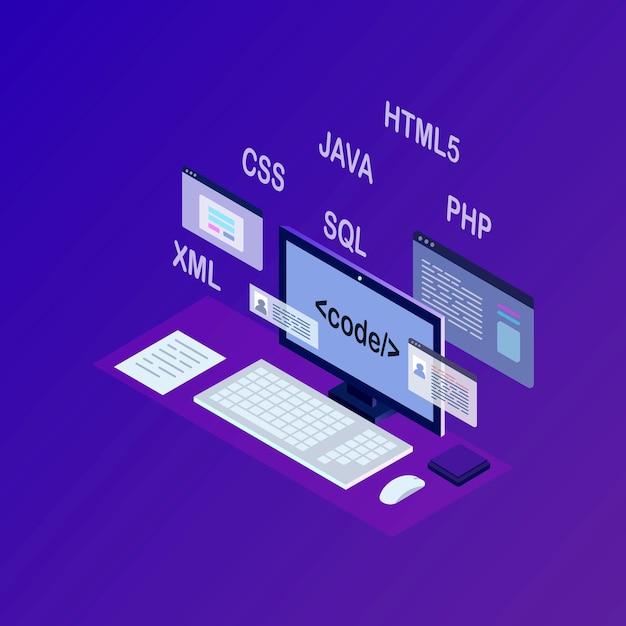 Rozwój Oprogramowania, Język Programowania, Kodowanie. Technologia Cyfrowa. Izometryczny Laptop, Komputer Premium Wektorów