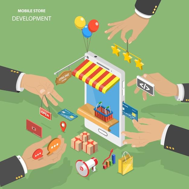 Rozwój sklepu mobilnego płaski izometryczny low poly wektor koncepcja. Premium Wektorów