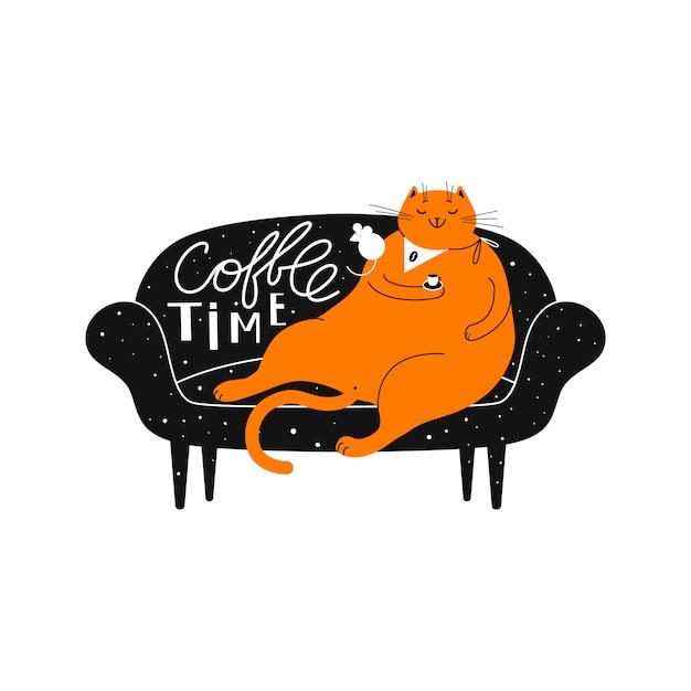 Rudzielec uśmiechnięty kot z filiżanką kawy na kanapie. Premium Wektorów