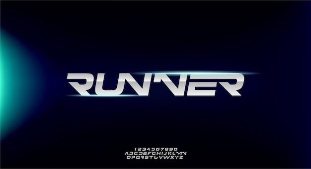 Runner, Abstrakcyjna Sportowa Futurystyczna Czcionka Alfabetu Z Motywem Technologicznym. Nowoczesny Minimalistyczny Projekt Typografii Premium Wektorów