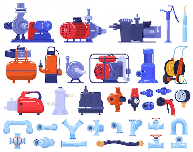 Rurowe Pompy Wodne Maszyny, Sprzęt, Technologia Rurociągów W Branży Zestaw Ilustracji. Premium Wektorów