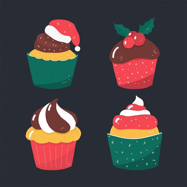 Rustykalne Wektor Boże Narodzenie Ciasta Cukierków Premium Wektorów