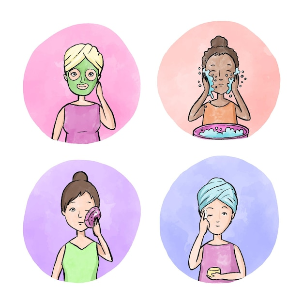 Rutynowa Pielęgnacja Skóry Kobiety Darmowych Wektorów