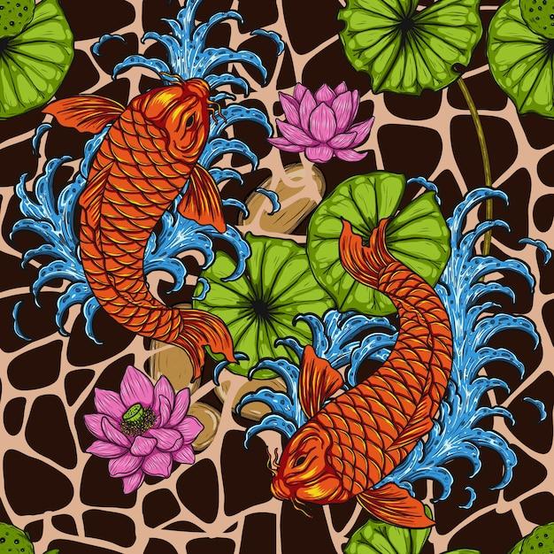 Ryba koi z lotosu szwu przez rysunek odręczny Premium Wektorów