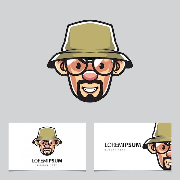 Rybak Człowiek W Okularach Maskotka I Wizytówki Premium Wektorów