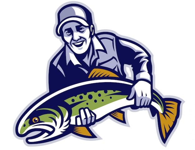 Rybak trzymaj dużą rybę pstrąga Premium Wektorów