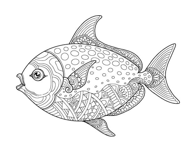 Ryby Kolorowanie Strony Projekt Jasne Tło Premium Wektorów