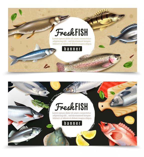Ryby Morskie I Rzeczne Do Gotowania Z Przyprawami Zestaw Poziome Bannery Na Białym Tle Darmowych Wektorów