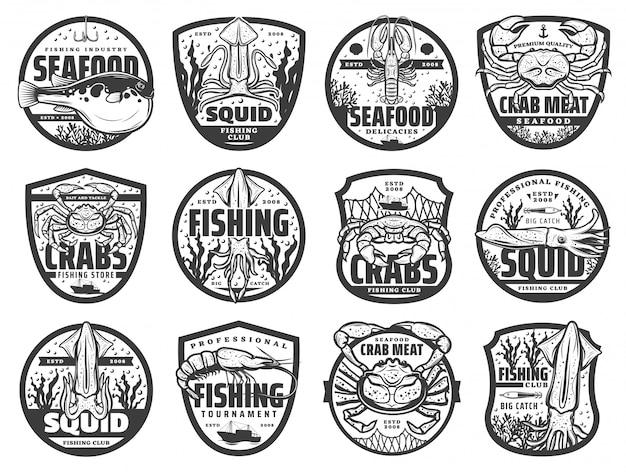 Ryby Morskie Ikony Sportowe, Herby Premium Wektorów