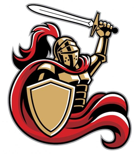 Rycerz z tarczą i mieczem Premium Wektorów