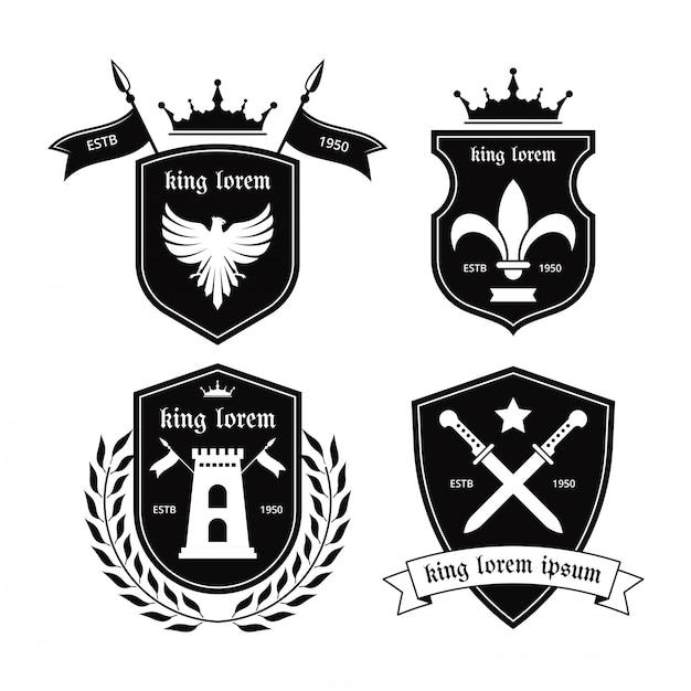 Rycerze emblematy wektor Premium Wektorów