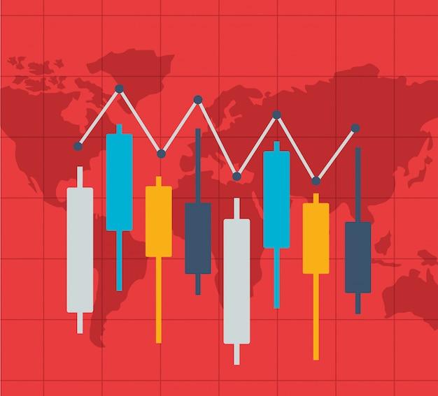 Rynek akcji finansowych Darmowych Wektorów