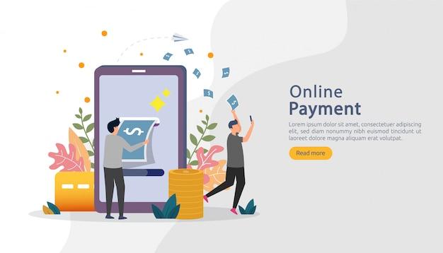 Rynek handlu elektronicznego robi zakupy online ilustrację z postaci małymi ludźmi. płatność mobilna lub przelew Premium Wektorów