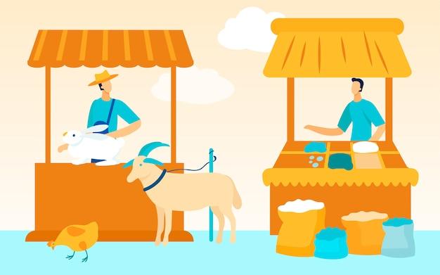 Rynek Rolników Rolnicy Sprzedają Produkty. . Premium Wektorów