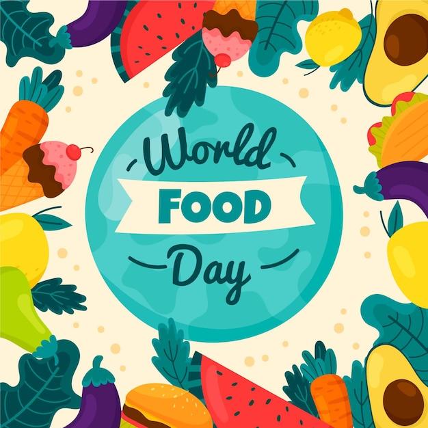 Rysowana Ilustracja Wydarzenia światowego Dnia żywności Darmowych Wektorów