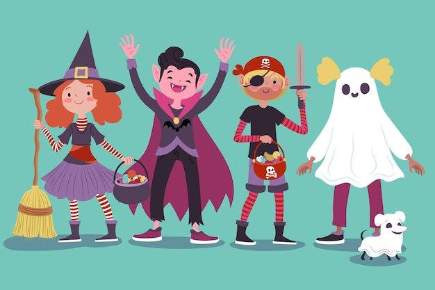 Rysowana Kolekcja Dla Dzieci Halloween Darmowych Wektorów