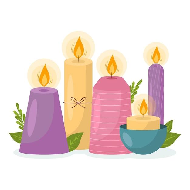 Rysowana Kolekcja świec Zapachowych Darmowych Wektorów