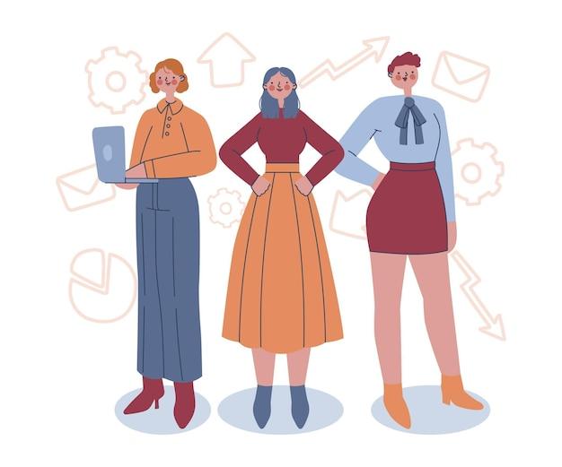 Rysowane Pewnie Kobiety Przedsiębiorcy Ilustracja Darmowych Wektorów