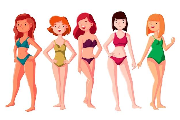 Rysowane Typy Kobiecych Kształtów Ciała Darmowych Wektorów