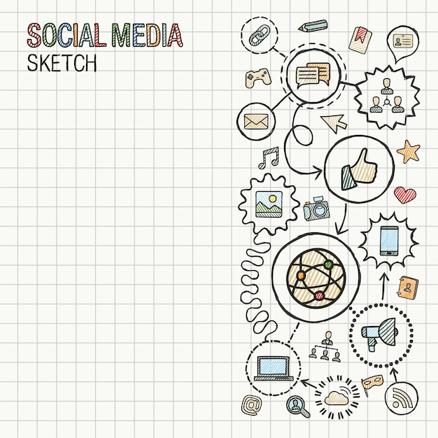 Rysowanie Ręczne Mediów Społecznościowych Integruje Ikony Ustawione Na Papierze. Infografika Ilustracja Kolorowy Szkic. Połączony Piktogram Doodle. Internet, Digital, Marketing, Sieć, Globalna Koncepcja Interaktywna Premium Wektorów