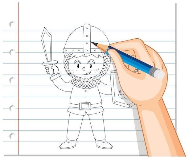 Rysunek Chłopca W Zarysie Stroju Rycerza Darmowych Wektorów