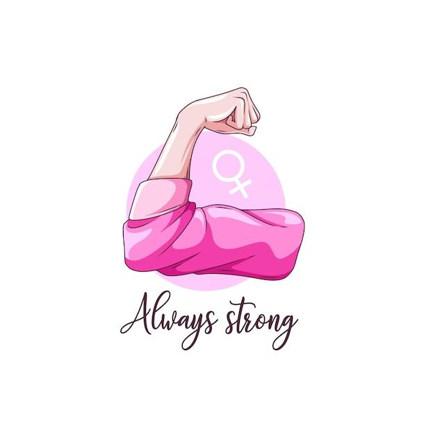 Rysunek Dłoni Z Silnym Ramieniem Na Dzień Kobiet Premium Wektorów