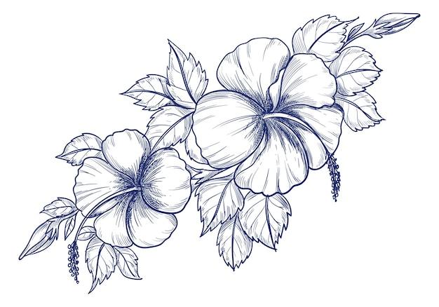 Rysunek I Szkic Ozdobny Kwiatowy Tło Darmowych Wektorów
