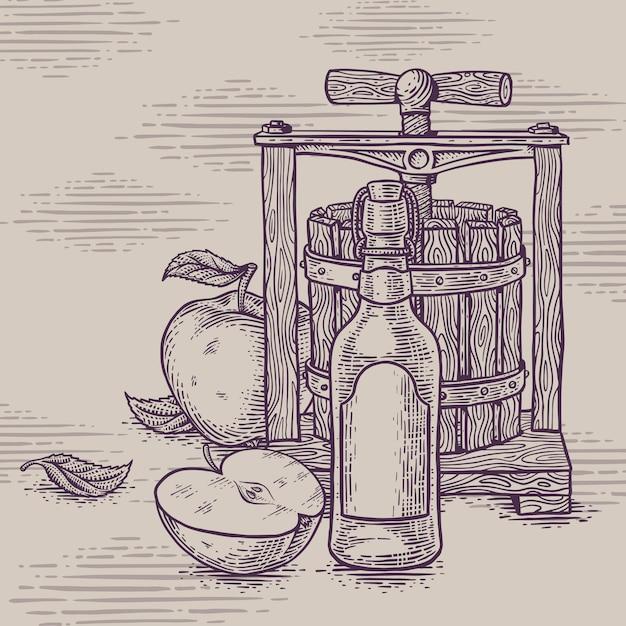 Rysunek Kompozycji Jabłka Cidre Premium Wektorów