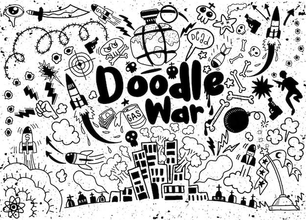 Rysunek Odręczny Doodle Kolekcja War Premium Wektorów