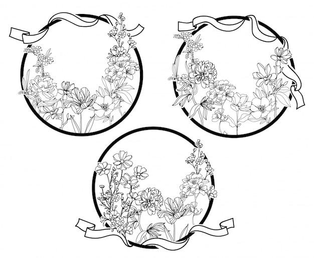 Rysunek ręka kwiaty i szkic czarno-biały Premium Wektorów