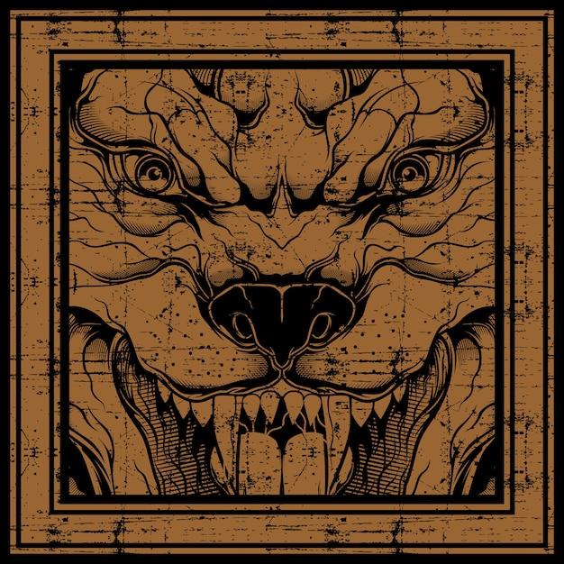 Rysunek Ręka Wilk Stylu Grunge, Na Białym Tle Premium Wektorów