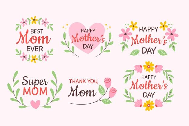 Rysunek Z Kolekcji Etykiet Dzień Matki Darmowych Wektorów