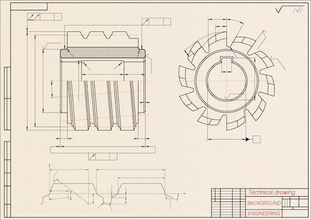 Rysunki inżynierii mechanicznej na beżowym tle papieru technicznego. narzędzia tnące, frez. Premium Wektorów