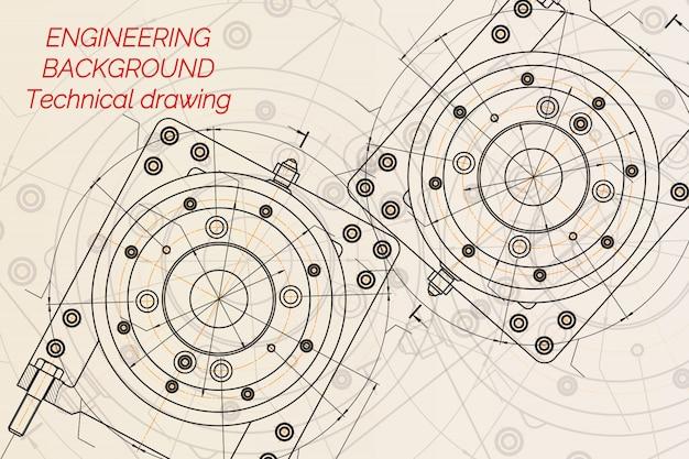 Rysunki inżynierii mechanicznej na jasnym tle. wrzeciono frezarki. projekt techniczny. plan. ilustracji wektorowych Premium Wektorów